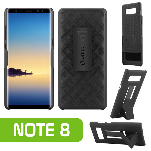 HLSAMN8 - Shell Holster Kickstand Case with Spring Belt Clip for Samsung Galaxy Note 8 – Black – by Cellet