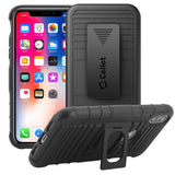 HLIPHXRING - Shell Holster Kickstand Case with Spring Belt Clip for Apple iPhone X – Black – by Cellet