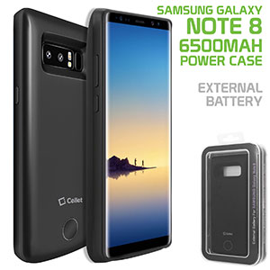 BSAMN8BK - Samsung Galaxy Note 8, 6500mAh Rechargeable External Power Case for Samsung Galaxy Note 8 – Black – by Cellet