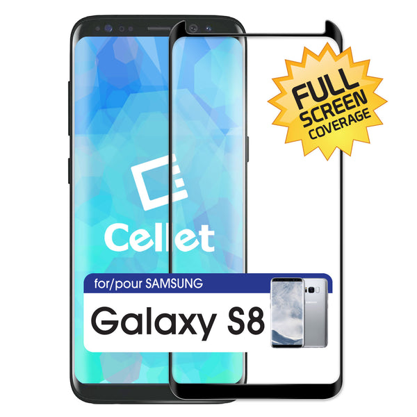 SGSAMS8F - Samsung Galaxy 8 Full Coverage Screen Protector, Premium Ultra-Thin Tempered Glass Screen Protector for Samsung Galaxy 8 (0.3mm) by Cellet