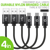 "DCA4IN3 - 3 Pack Premium Type C Data Sync Cable, 4"" Heavy Duty Nylon Braided Type C Charging/Data Sync Cable by Cellet"