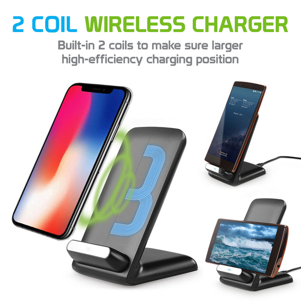 QI700 - 2 Coil Qi Wireless Charger (10Watt/2.1Amp), Wireless Charging Stand for Samsung Galaxy Note 8, Galaxy S8/S8 Plus, Apple iPhone X, 8/8 Plus and All Wireless (Qi) Enabled Devices – by Cellet - Black