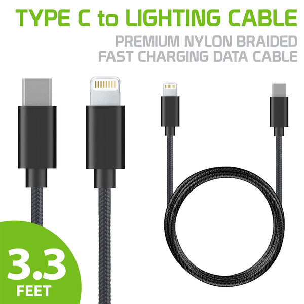 DCAPP8BK - Type C to Lighting Cable (1 Meter), Premium Nylon Braided Fast Charging Data Cable for Apple iPhone X, 8, 8 Plus, MacBook, iPad Tablets and More (No Brand)