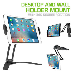 PHTAB43CNBK - Desktop and Wall Holder Mount with 360 Degree Rotation for Apple iPad Pro 10.5, Pro 9.7, IPad Mini 4, Samsung Galaxy Tab S3, Amazon Fire HD and More - Black - by Cellet