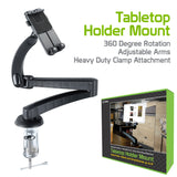 "PHC680 - Heavy Duty Tabletop Holder Mount with 360 Degree Rotation, Adjustable Arms and Heavy Duty Clamp Attachment for Apple iPads, Tablets and Smartphones up to 6""– by Cellet"