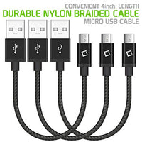 "DAMICRO43 -  3 Pack Premium Micro USB Data Sync Cable, 4"" Heavy Duty Nylon Braided Micro USB Charging/Data Sync Cable by Cellet"