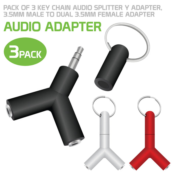 CNY23 - 3 Pack Key Chain Aux Audio Sound Splitter 3.5mm Male to Dual 3.5mm Female Adapter