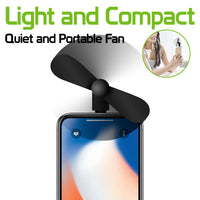 FANLIGHTNING - Portable Mini USB Fan for Apple iPhone X, 8/8 Plus, 7/7 Plus, iPod Touch and More 8 Pin Lightning Devices - Black