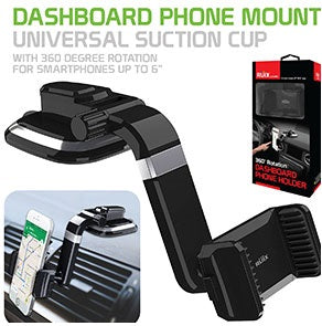 PHD400 - Dashboard Phone Mount, Universal Suction Cup Dashboard Phone Holder with 360 Degree Rotation for Smartphones Up to 6""