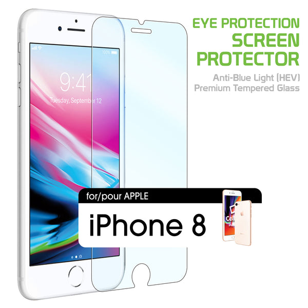 SGIPH8BL - iPhone 8 Eye Protection Screen Protector, Anti-Blue Light (HEV) Premium Tempered Glass Screen Protector for Apple iPhone 8 by Cellet