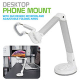 PH118ESL - Dashboard, Windshield and Desktop Phone Mount with 360 Degree Rotation and Adjustable Folding Arms for Samsung Galaxy S9/S9 Plus, S8/S8 Plus, Galaxy Note 8, Apple iPhone X, 8/8 Plus, Google Pixel 2XL, LG V30 and More – Silver - by Cellet