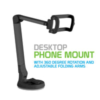 PH118EBK - Desktop Phone Mount with 360 Degree Rotation and Adjustable Folding Arms for Samsung Galaxy Note 9, S9/S9 Plus, S8/S8 Plus, Apple iPhone XS Max, XR, X, 8/8 Plus, Google Pixel 2XL, LG V30 and More – Black - by Cellet