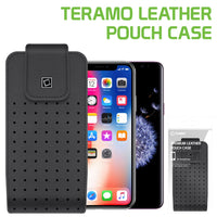 LTERMEDB -  Cellet Teramo Leather Pouch for Apple iPhone X, 8, 7, 6S, 6, Samsung Galaxy Note 9, Note 8, Samsung Galaxy S9, S8, S7 and More (Fits with Slim Case On)