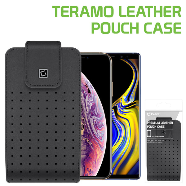 LTERLAGB -  Cellet Teramo Leather Pouch for Samsung Galaxy S9 Plus, Galaxy S8 Plus, iPhone 8 Plus, 7 Plus, 6S Plus and More(Fits with Slim Case On)