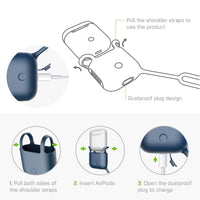 SCPODBL - AirPods Case, Protective Silicone Case Cover for AirPods (AirPods Strap Included) by Cellet - Blue