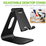 PHALUBK - Adjustable Desktop Stand, Heavy Duty Adjustable Aluminum stand with 270 Degree Rotation for Smartphones, Tablets, iPads and Nintendo Switch – Black