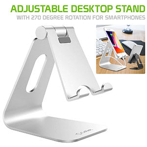 PHALUSL - Table Desktop Phone Stand Smartphone Holder, Portable Resilient Aluminum -Silver