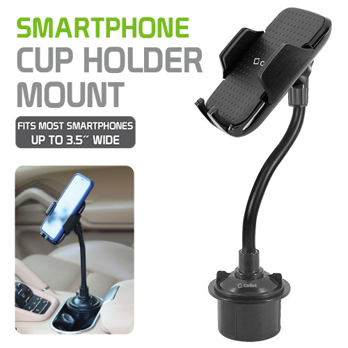 PHC18CN - Heavy Duty Cup Holder Mount for Apple iPhone XS, XR, X, 8/8 Plus, Samsung Galaxy Note 9, Galaxy S9/S9 Plus, S8/S8 Plus and other3.5 inch Smartphones – by Cellet