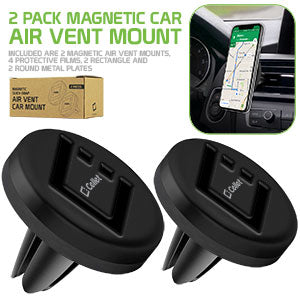 PHEMVENT2- Pack of 2 Magnetic Vehicle Air Vent Phone Holders Mount Universal Compatibility
