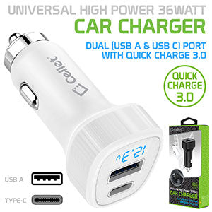 PQC3036WT - Dual USB Car Charger, Universal High Power 36Watt Dual (USB A & USB C) Port Car Charger with Quick Charge 3.0 by Cellet - White