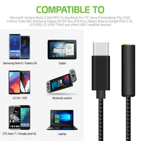 DCAFEMB -USB C to 3.5mm Female Headphone Adapter, Heavy Duty Nylon Braided Audio Converter