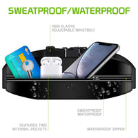 ACWAISTP1 -Sweat Resistant Fanny Pack, Fitness Exercise Storage Belt with Clear Window for Apple iPhone Xr, XS Max, 8/7/6S Plus, Samsung Galaxy Note 9, Galaxy S9/S8 Plus and More by Cellet