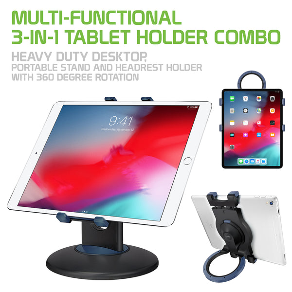 PHTAB5003 - Multi-Functional 3-in-1 Tablet Holder Combo, Heavy Duty Desktop, Portable Stand and Headrest Holder with 360 Degree Rotation for iPads and Tablets - Black