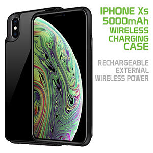 BWIPHXS - iPhone XS Wireless Charging Case, 5000mAh Rechargeable External Wireless Power Case for Apple iPhone XS - Black