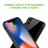 BWIPHMAX - iPhone XS Max Wireless Charging Case, 6000mAh Rechargeable External Wireless Power Case for Apple iPhone XS Max - Black