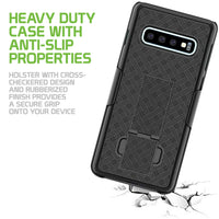 HLSAMS10 - Belt Clip Holster & Shell Case with Kickstand Heavy Duty Protection - Galaxy S10