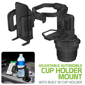 PH680 - 2 in 1 Car Cup Holder Phone Mount with Built in Cup Holder Slot 360 Rotating Cradle