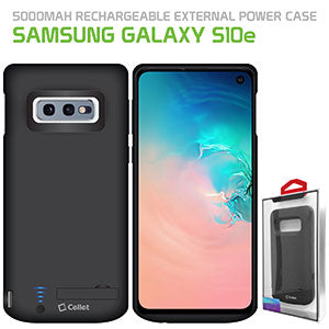 BSAMS10EBK - Cellet Samsung Galaxy S10e Portable 5000 mAh Heavy Duty Rechargeable External Power Case, Extended Battery Charging Case Compatible to Samsung Galaxy S10e