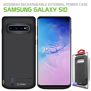 BSAMS10BK - Cellet Samsung Galaxy S10 Portable 6000 mAh Heavy Duty Rechargeable External Power Case, Extended Battery Charging Case Compatible to Samsung Galaxy S10