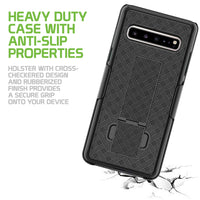 HLSAMS105G - Belt Clip Holster & Shell Case with Kickstand Heavy Duty Protection - Galaxy S10 5G