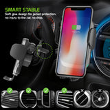 QI1000 - 2-in-1 Fast Wireless Charging Phone Holder Mount with Auto touch Release and Lock Cradle, Lock Lever and Reusable Sticky Suction Cup for Air Vent and Dashboard (10 Watt/2.1Amp) Compatible to iPhone XS Max, XR and More - by Cellet