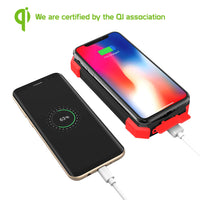 BMA10000RD -Solar Power Bank 10000mAh Universal Charging Pad Dual USB/Type C Micro USB Input -Red