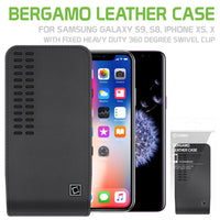 "LBERGAMOSM - Cellet Bergamo Premium Leather Case for Apple iPhone XS, 8, 7, 6 and Samsung Galaxy S9, S8, S7, S6, S5 with Fixed Heavy Duty 360 Degree Swivel ""HM"" Clip"