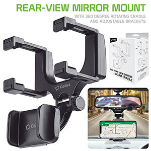PHMIR2FA -  Cellet Rear-view Mirror Mount, Universal Car Rear-view Mirror Mount with 360 Degree Rotating Cradle and Adjustable Brackets Compatible to Apple iPhone XS Max, X/XR/XS, 8/8 Plus, 7/7 Plus and Samsung Galaxy Note 10/10 Plus
