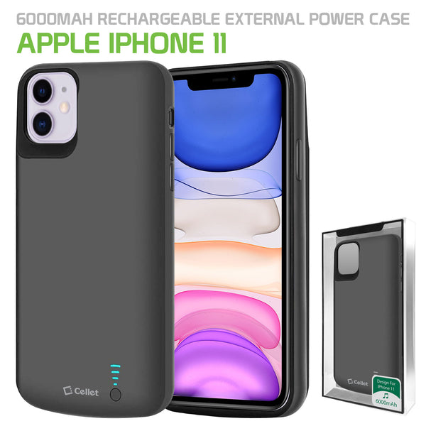 BIPH11BK - Cellet Apple iPhone 11 Portable 6000mAh Heavy Duty Rechargeable External Power Case, Extended Battery Charging Case Compatible to Apple iPhone 11