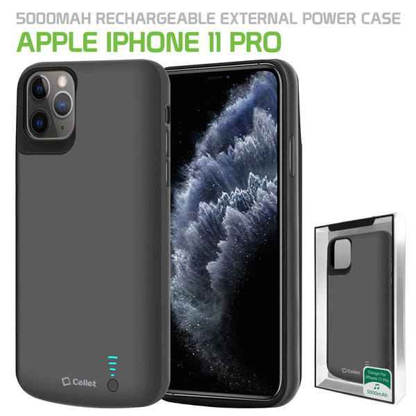 BIPH11PBK - Cellet Apple iPhone 11 Pro Portable 5000mAh Heavy Duty Rechargeable External Power Case, Extended Battery Charging Case Compatible to Apple iPhone 11 Pro