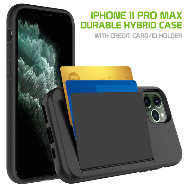 CCIPH11PMBK - Durable Slim Protective Wallet Case - ID & Credit Card Holder Slot - iPhone 11 Pro Max