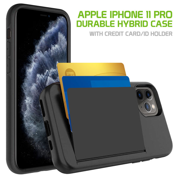 CCIPH11PBK - Durable Slim Protective Wallet Case - ID & Credit Card Holder Slot - iPhone 11 Pro
