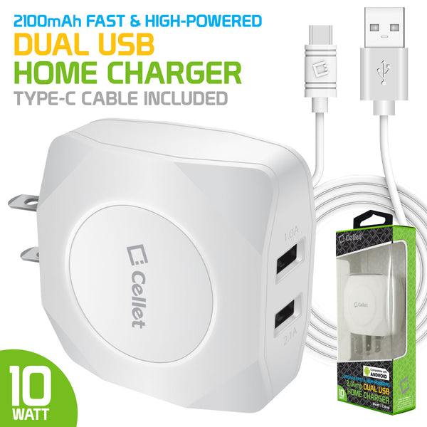 TANN220WTC - Cellet Dual USB Home Charger, 10 Watt / 2.1 Amp Wall Charger (Type-C Cable Included) for Apple iPhone X, 8, 8 Plus, iPad Pro, iPad Mini 4, Samsung Galaxy Note 8, Galaxy S8, S8 Plus, etc. - White
