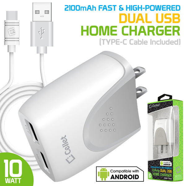 TANN210WTC - Cellet Dual USB Home Charger, 2.1Amp / 10 Watt Wall Charger (TYPE-C Cable Included) for Apple iPhone X, 8, 8 Plus, iPad Pro, iPad Mini 4, Samsung Galaxy Note 8, Galaxy S8, S8 Plus, etc.- White