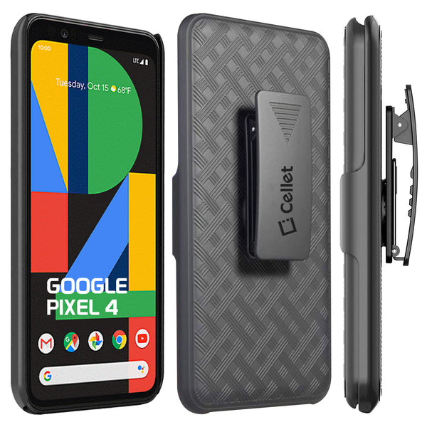 HLGOOPX4- Belt Clip Holster & Shell Case with Kickstand Heavy Duty Protection - Google Pixel 4
