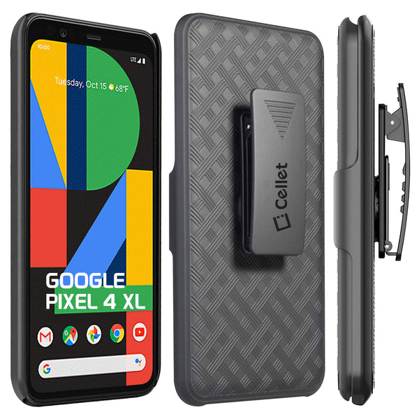 HLGOOPXL4- Belt Clip Holster & Shell Case with Kickstand Heavy Duty Protection - Google Pixel 4 XL