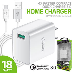 TCQC30WTC - Cellet 4x Faster Compact Quick charge 3.0 Home Charger (TYPE-C Cable Included) - White