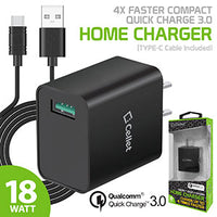 TCQC30BKC - Cellet 4x Faster Compact Quick charge 3.0 Home Charger (TYPE-C Cable Included) - Black