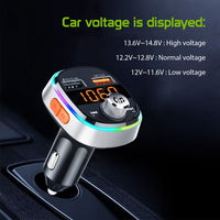 PQCFM30 -Multi-functional Wireless FM Transmitter for Cars, Hands-Free Kit with Built-in Microphone, MP3, Dual USB Charging Ports (Quick Charge 3.0) and Rainbow LED Light
