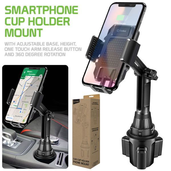 PH630  - *NEW*  Cellet Smartphone Cup Holder Mount, Heavy Duty Automobile Cup Holder Mount with Adjustable Base, Height, One Touch Arm Release Button and 360 Degree Rotation Compatible to iPhone 11 Pro Max, Samsung Galaxy S10, GPS Systems and more